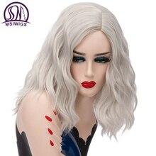 MSIWIGS امرأة قصيرة الفضة الأبيض بيروكات صناعية للنساء مقاومة للحرارة تأثيري الشعر الوردي شعر مستعار أشقر