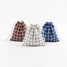 Cotton Linen Printed Drawstring Bag Plaid Coffee Candy Packaging Bag Small Coin Purse Women Cotton Fabric Christmas Gift Pouch