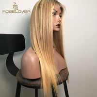 1b/27# Color Straight Glueless Full Lace Wigs with Baby Hair Pre Plucked Ombre Blonde Hand Tied Lace Wigs Brazilian Remy Hair