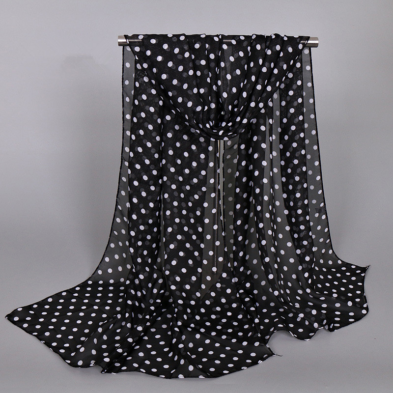 Women Chiffon Shawls Female Pareo Beach Towels Summer Autumn Printed Dots Fashion Muslim Hijab Silk Wrap Cape Scarves