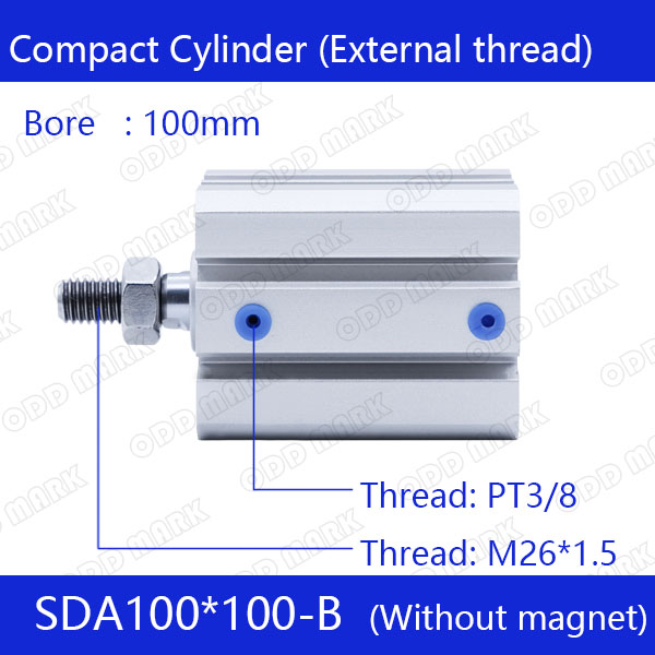 SDA100*100-B Free shipping 100mm Bore 100mm Stroke External thread Compact Air Cylinders  Dual Action Air Pneumatic Cylinder