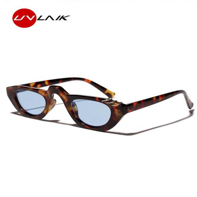 4507244fc2 UVLAIK Fashion 90s Cat Eye Sunglasses Women 2018 Luxury Vintage Sunglass  Men Retro Flat Top Small Sun glasses Famale Eyewear