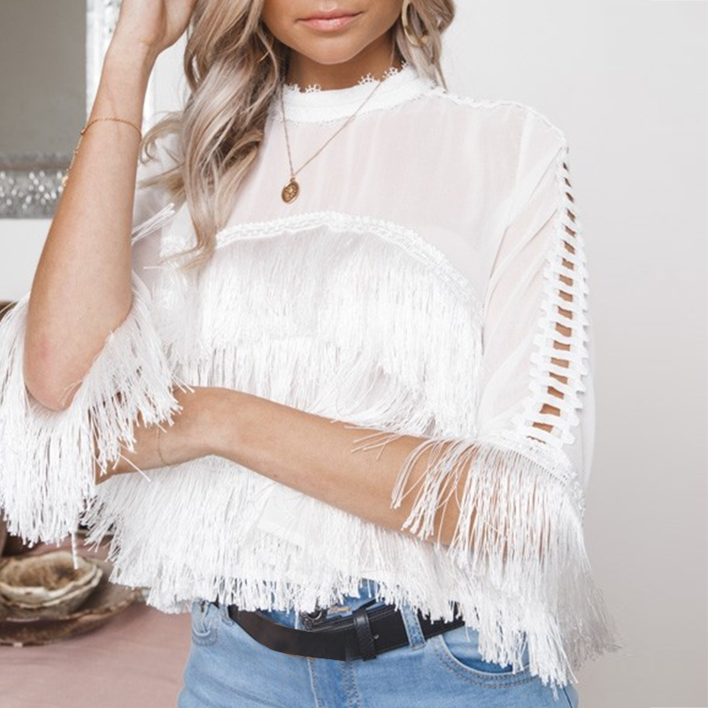 Conmoto Solid White Casual Women Tassel   Blouse     Shirt   Sexy Transparent Chiffon   Blouse     Shirt   Club Hollow Out Summer Blusa Mujer