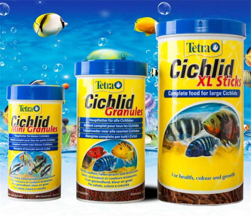 Original Tetra Cichild sticks/Granules tropical small fish food float on water canister feeder aquarium image