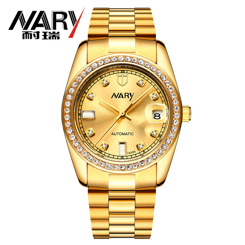Brand NARY High Quality Tourbillon Men Automatic Mechanical Wrist Watches Men Gold Watches Luxury Business Waterproof Watches