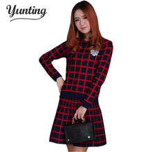 2019 New Autumn Winter Bottoming Sweater Dress Europe Slim Plaid Knitted Tops+Package Hip Skirt 2 Piece Set Women Clothing Suit(China)