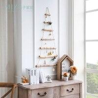 Miz اليدوية الحرفية الخشبية سلم تصميم عيد الميلاد شنقا الديكور الأصلي التبعي الجدار شنقا الديكور