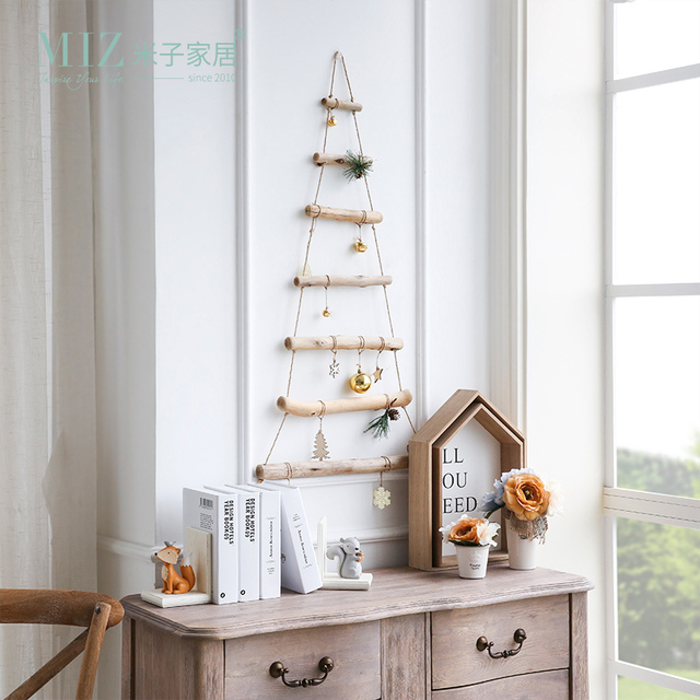 miz handmade craft wooden ladder christmas hanging decoration original design christmas accessory wall hanging decoration