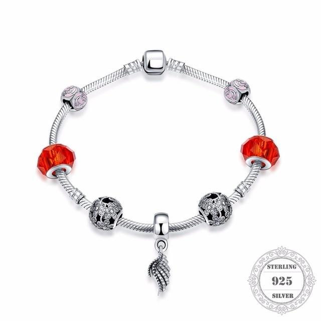 HEMISTON 925 Sterling Silver DIY Red Flower Bead Bracelets with Angel Wings Charm for Women Fine Jewelry Original Gift PAB002