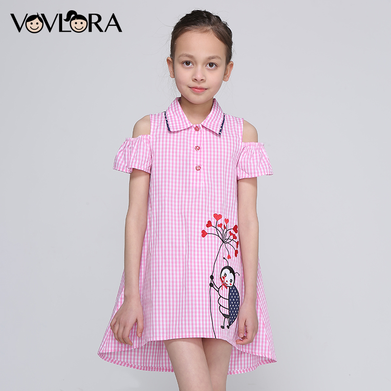 Girls Plaid Dress Flare Sleeve Shoulder Embroidery Kids Dresses Shirt Collar Cartoon Loose Children Clothes Size 4 5 6 7 8 Years