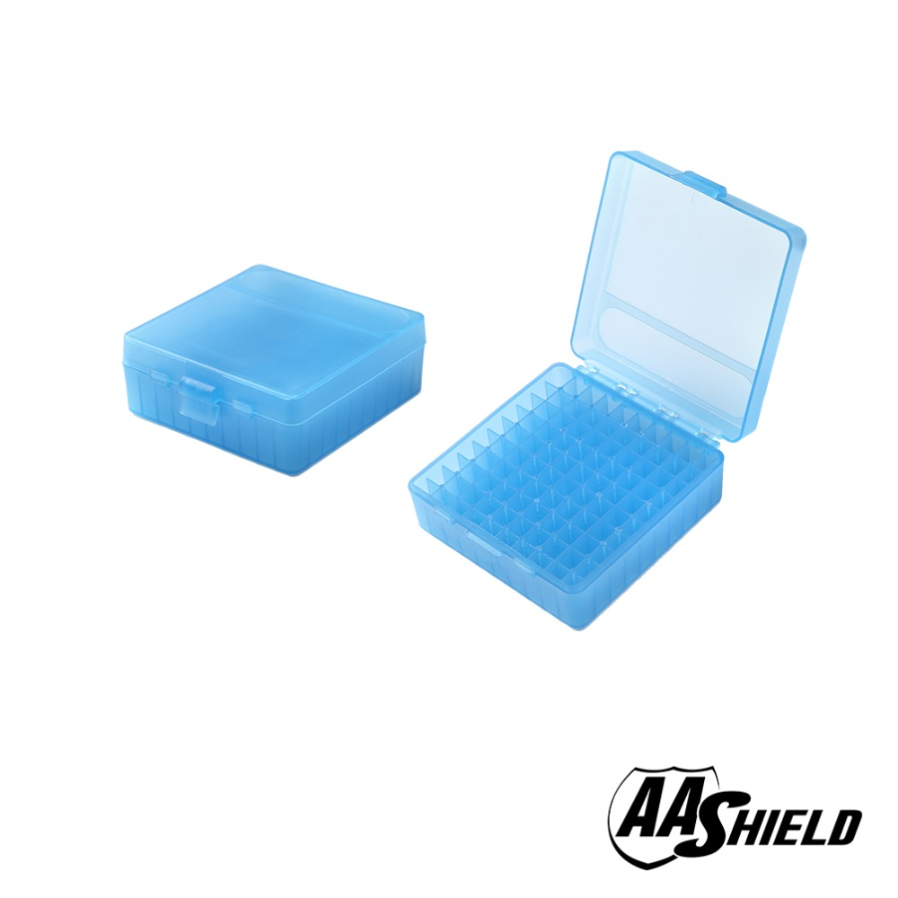 AA Shield Plastic Ammo Box 100 Round 9mm Ammo Case Huntting Ammo Case For Handgun title=