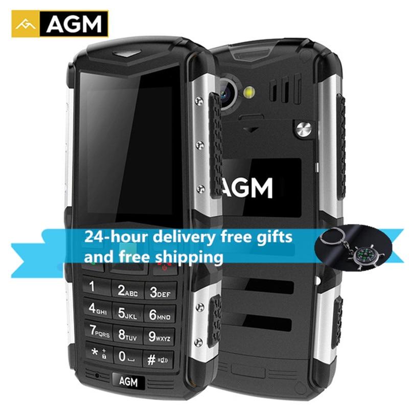 Agm m1 celular tri-prova 2.0 mb mb 128 mb + 64 mb 2.0mp 2570 mah ip68 impermeável telefone 3g gsm wcma botão russo telefone móvel m2