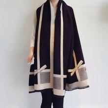 高 品質の女性カシミヤスカーフちょう結びスカーフ厚く暖かいパシュミナブランドデザイナーショール女性ラップ