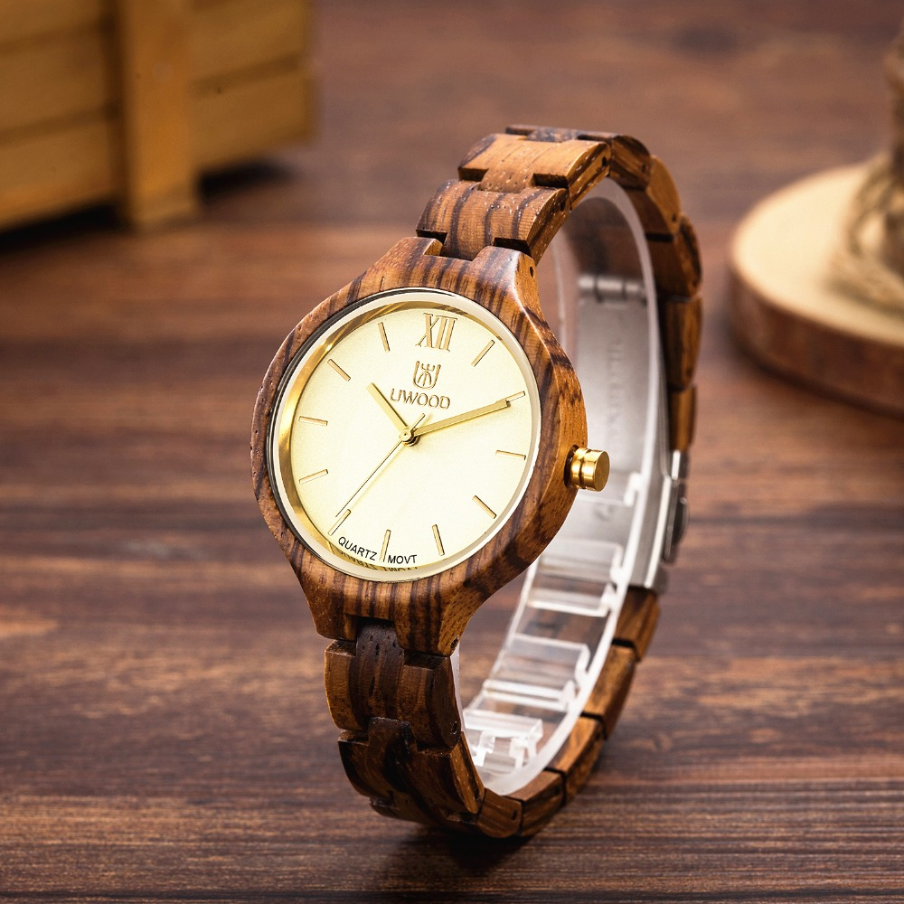 цена на UWOOD Wooden Watches Top Brand Luxury Women Quartz Watch Fashion Natural Wood wristwatch Women Business Clock Relogio Feminino