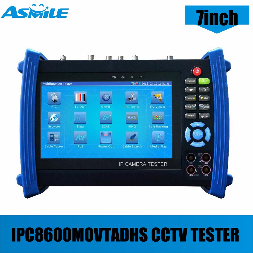 IPC-8600MOVTADHS cctv camera tester with 7 inch capacitive touch screen, IP+ Analog+HD Coaxial Tester 12V2A/ 5V 2A power bank
