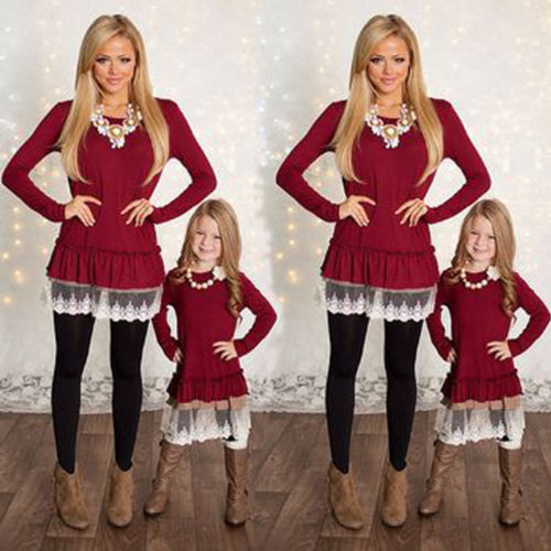 New Xmas Red Dress Mother Daughter Long Sleeve Family Match Dress Women Kid  Girls Lace Dresses Christmas Family Outfit Clothes - New Xmas Red Dress Mother Daughter Long Sleeve Family Match Dress