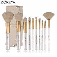 Zoreya Brand 10pcs Professional Make Up Powder Brushes Set For Beauty Women Foundation Cosmetic Brushes Tools