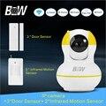 Network Wireless IP Camera + 3 Door Sensor+ 2 Infrared Motion Sensor P2P PTZ Alarm Security Camera WiFi Mini Baby Monitor BW12Y