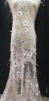 3D feather Lace handmade diamonds cotton Lace African french lace cord lace borders tulle fabric with 3D Appliques stones