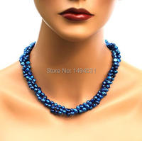 Wholesale Pearl Jewelry Dark Midnight Royal Blue 3 Strands Genuine Freshwater Pearl Necklace Earrings Handmade Jewelry Set
