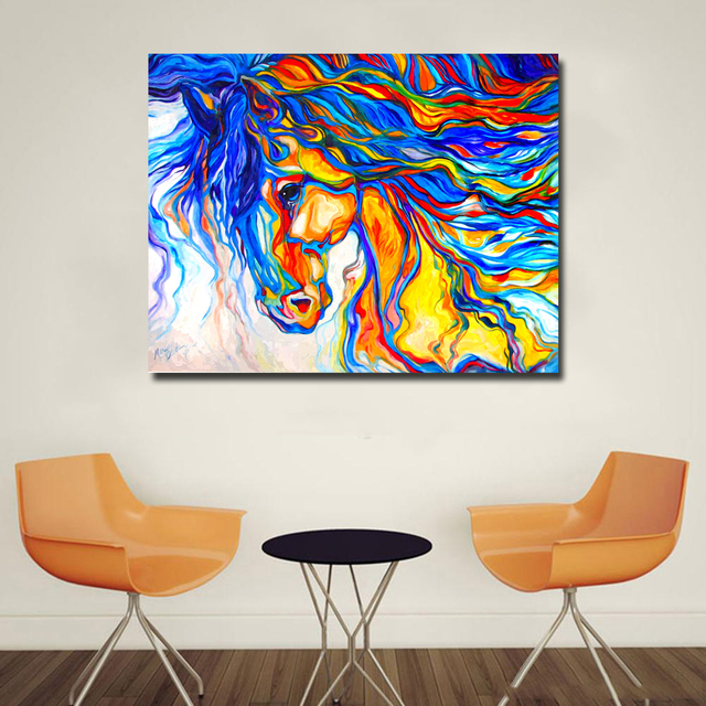 Us 5 55 48 Off Colorful Hair Horse Wild Animal Art Poster Canvas Painting Wall Picture Print Modern Home Living Room Decoration In Painting