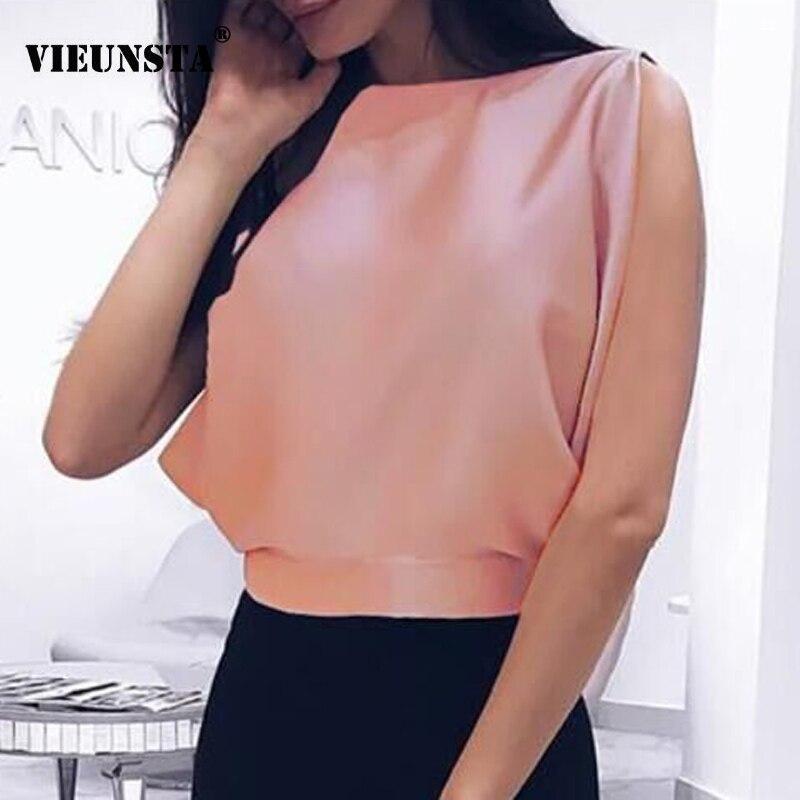 Vieunsta Sexy V-neck Lace Stitching Chiffon Blouse Women Shirt 2019 Fashion Sleeveless Strap Vest Blouses Summer Streetwear Tops Blouses & Shirts