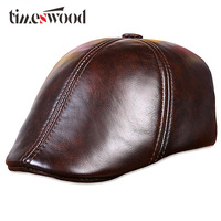 Genuine Cowskin Leather Painter Berets Caps For Men Women Brown Black Mens Woman Winter Beret Hat With Ear Ear Flaps L,XL,XXL