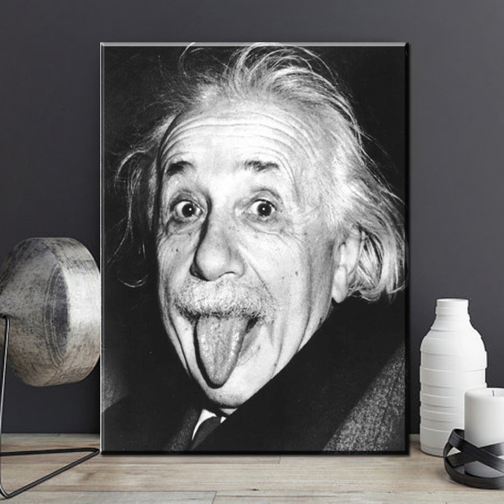 Black And White Canvas Pictures Us 8 36 7 Off Xx3169 Black White Canvas Art Albert Einstein Funny Face Canvas Pictures Oil Art Paintings For Home Decoration Unframed In Painting