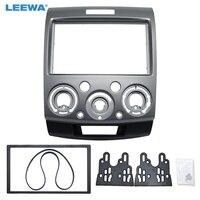 LEEWA Silver Double Din Stereo Panel for Ford Everest Ranger Mazda BT 50 Facia Radio Dash Mount Installation Trim Kit #CA1677