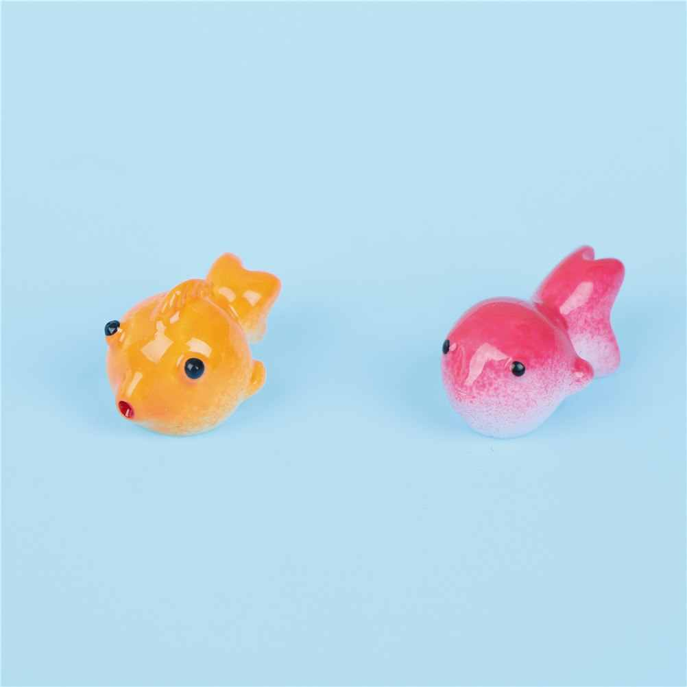 1/2pcs Simulation Fish Boat Rabbit Miniature Garden Figurine Home Decoration Accessories Decor Fairy Goldfish Craft Bonsai Toy