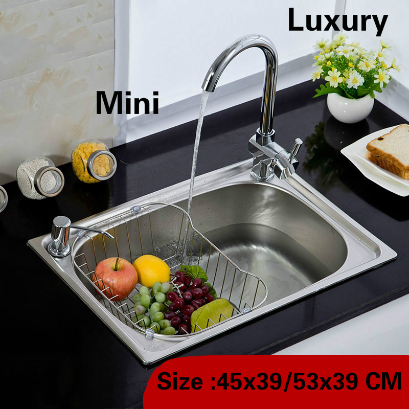 Free shipping Standard balcony kitchen sink whole drawing food grade 304 stainless steel single slot hot sell 45×39/53×39 CM