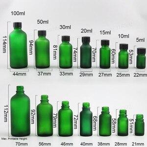 Image 2 - 10ML 15ml 20ml 30ml 50ml 100ml Refillable Frost Green Glass Essential Oil Bottle With Brush Cap 1oz 1/2oz 5/3OZ NaiPolish Bottle