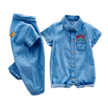 Soft Denim Baby Romper Graffiti Chick Infant Clothes Jumpsuit Boys Girls Costume Cowboy Fashion Jeans Children Outfit