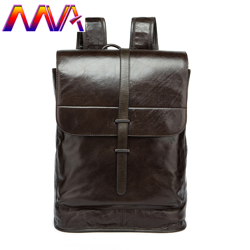 MVA Newly design genuine leather men backpack for fashion student school bag women coffee backpack casual men travel backpack