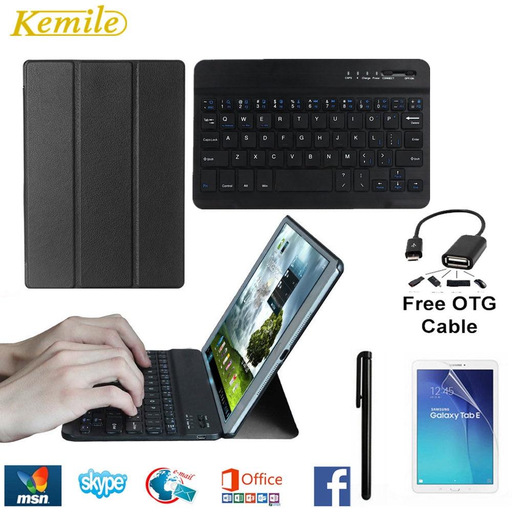 все цены на Ultra Slim Lightweight Standing Cover for Samsung Galaxy Tab E 8 Inch SM-T377 Case Tablet PC +Aluminium alloy bluetooth keyboard онлайн