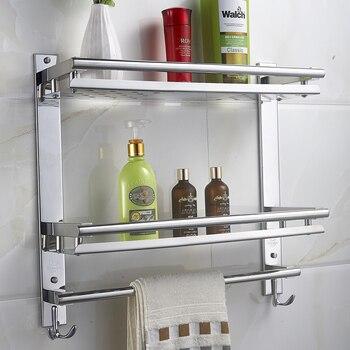 MTTUZK DIY Bathroom shelves 304 stainless steel double layer washing machine single towel rack cosmetic rack bathroom Shelf