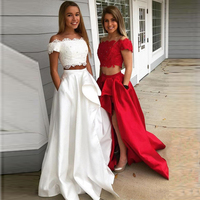 Front Side Split Satin Long Skirts Pocket Ruffles Floor Length Skirts Evening Party Women Skirts Without Top Custom Made