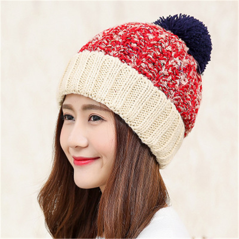 Rabbit Fur Knitted Hat Cap Women Winter Warm Wool Beanie Hat Outdoor Sport Skullies Beanies Gorro princess hat skullies new winter warm hat wool leather hat rabbit hair hat fashion cap fpc018