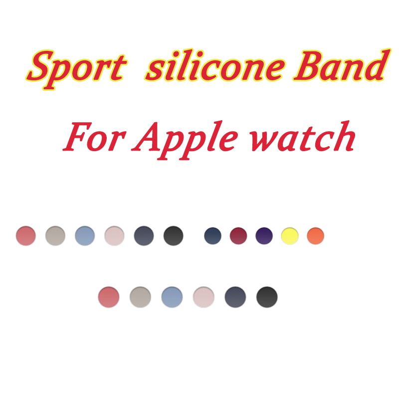 Rubber wristband For Apple watch sport band straps silicone Series 4 3 2 1 link Bracelet for iwatch strap 40mm 44mm 38mm 42mm in Watchbands from Watches