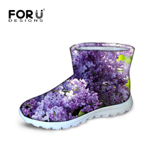 FORUDESIGNS Supreme Women's Casual Boots Pretty Flower Pattern Winter Snow Boots for Women Breathable Warm Ankle Rain Boots Gilr