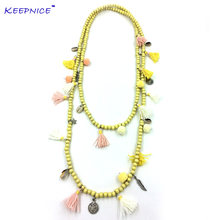 Новое богемное длинное ожерелье с бусинами в стиле бохо Красочные