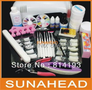 Free Shipping Pro Nail Art UV Gel Kits Tool UV lamp Brush Remover nail tips glue acrylic UW,HB-NailArt 089#