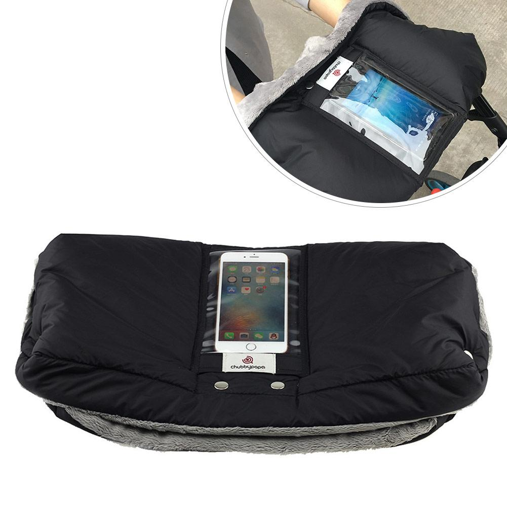 Baby Stroller Gloves Winter Warm W//Mobile Phone Pocket Waterproof For Carriage