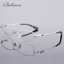 Bellcaca Pure Titanium Men Spectacle Frame Eyeglasses Brand Designer Computer Optical Clear Lens Glasses For Male BC305