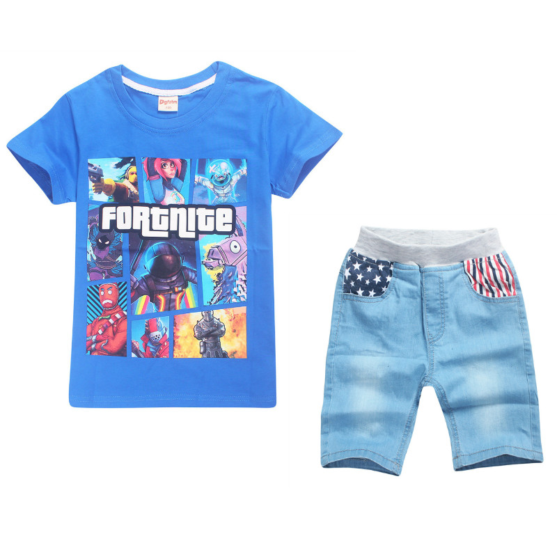 2018 Summer Children Game Fortnite Cartoon Set T shirt+Flag Star Jeans Shorts Boys Girl Short Sleeve T-Shirts Pants Kids Sets