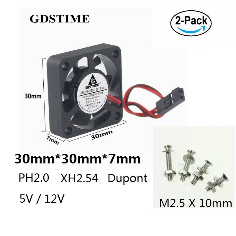 Gdstime 2 Set 3cm Dupont 2.54 2.0 Connector 2P DC <font><b>Cooling</b></font> <font><b>Fan</b></font> <font><b>5V</b></font> 12V Small Brushless Cooler <font><b>30mm</b></font> x 7mm For Raspberry With Screws image