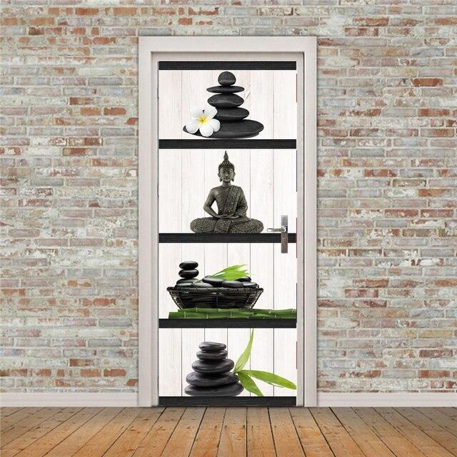 Gratis verzending 3D boeddha Deur Muurstickers DIY Muurschildering ...