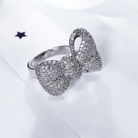 New jóias bonito!! Projeto Bowknot grande para presente Namorada Feminino Qualidade Superior Sobre As Vendas de Luxo Zircão Branco Anéis Moda Jóias