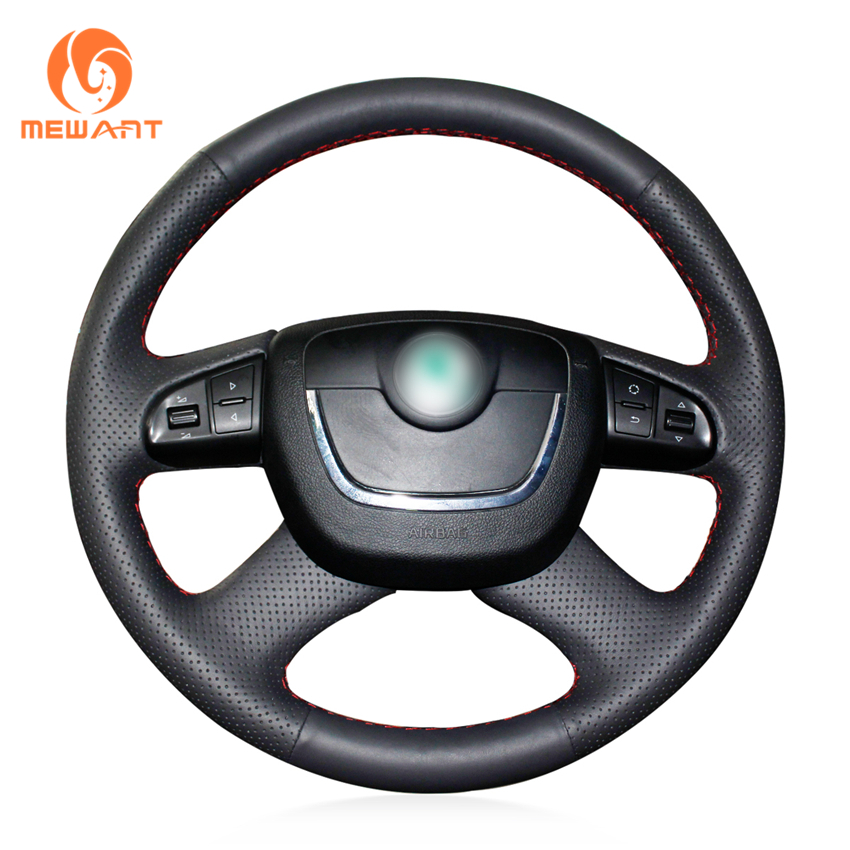 MEWANT Black Genuine Leather Car Steering Wheel Cover for Skoda Octavia Octavia a5 a 5 Superb 2012 2013 Fabia 2010-2014 shining wheat genuine leather steering wheel cover for skoda octavia superb 2012 fabia skoda octavia a 5 a5 2012 2013 yeti