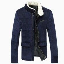 Пуховик, зима куртки мужчины 3XL вельвет хаки тёмно-синий, тёмный зеленый воротник-стойка зима мужчины зима пальто